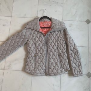 Michael Kors gray tan puffer light down coat